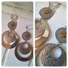 Boucles d'oreille acier, hématite et béton argent et or 02