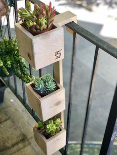 Outdoor Planter Boxes, Pallet Planter Box, Balcony Planters, Tiered Planter, Small Balcony Garden, Small Balcony Decor, Balcony Flowers, Small Balconies, Wall Planters