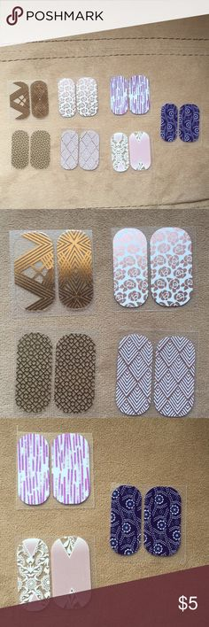 Jamberry nail wraps- 7 pedi packs City of Dreams (retired) Lustrous Waltz First Impression  (retired) Copper Glam (retired) Twist on Holiday  (retired) Ever Quest (retired) Stylebox exclusive  (retired) Jamberry Makeup