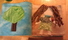 Soft busy book pages. Upholstery fringe hair, cotton velour skin, soft fuzzy tree top fabric, etc.