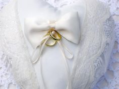 Ring Bearer Pillow Ivory Satin Lace and by FineFashionsbyLinda