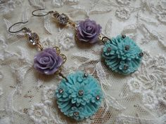 ENCHANTING vintage assemblage earrings celluloid by lilyofthevally, $40.00