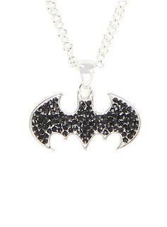 "<p>Dark Knight. Caped Crusader. World's Greatest Detective. Batman is proof you don't need superpowers to be a superhero.</p>  <p>Silver tone necklace from DC Comics with a black gem filled Batman logo pendant.</p>  <ul> 	<li>Pendant: 1 1/2"" x 1""</li> 	<li>Chain: 18"" long with 3"" extender</li> 	<li>Alloy</li> 	<li>Imported</li> </ul>"