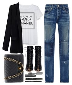 """""""chanel"""" by ecem1 ❤ liked on Polyvore featuring Chanel, AMO, Gianvito Rossi and Bobbi Brown Cosmetics"""