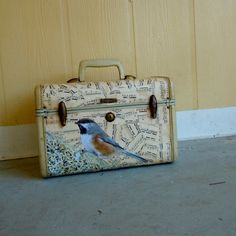 vintage samsonite train case covered in antique sheet music with bird . small suitcase luggage on Etsy, $88.00