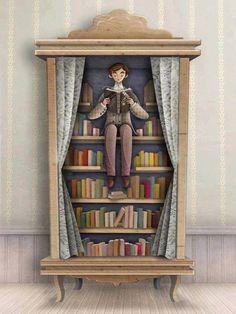 """man reading - illustration by Óscar T. Pérez for """"El lector insólito"""" Daniel Monedero.  'El lector insólito no es un lector como los demás. El lector insólito lee en cualquier lugar...  El lector insólito, si pudiera, leería hasta en la superficie de la luna. El lector insólito, si pudiera, leería hasta lo que todavía no se ha escrito. El lector insólito viviría, si pudiera, dentro de un libro.'"""