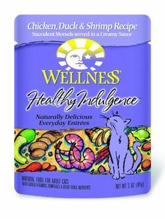 Wellness Healthy Indulgence Chicken, Duck and Shrimp Recipe Cat Food (Pack of 24, 3-Ounce Pouches) -- For more information, visit image link.