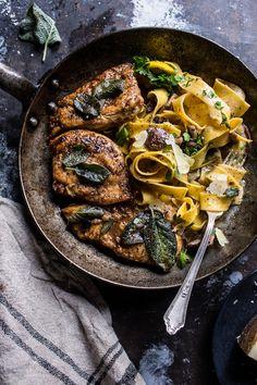 Browned Sage Butter Chicken Piccata with Mushroom Pasta | halfbakedharvest.com @hbharvest