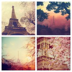 Paris photography gift set - a set of 5x5 Paris photography prints in pink. $36.00, via Etsy.