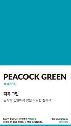 Color of today: Peacock Green디자인빛의 작은 프로젝트 오늘의색은 하루에 한 빛깔, 아름다운 색과 재... Flat Color Palette, Colour Pallette, Colour Schemes, Pantone Colour Palettes, Pantone Color, Pantone Blue, Colour Board, Color Swatches, Color Of Life