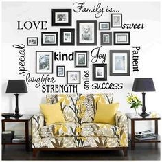 "family photo montage ""scrapbook"" wall ... I love this design! It would probably look better with frames that matched each other better, but this kind of layout and all the words mixed in are wonderful! #Photos #PhotoDisplay #WallDecor #HomeDecor #DIY - pb≈"
