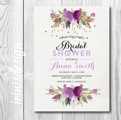 A personal favorite from my Etsy shop https://www.etsy.com/listing/234580968/watercolor-purple-flowers-wedding-bridal