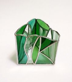 Stained Glass Pencil Holder  Candle Holder  Green and Clear