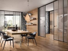 Glass sliding doors, parquet, boiserie, cabinets and complements by Garofoli Master Bedroom Interior, Interior Door, Office Interior Design, Partition Design, Glass Partition, Aluminium Sliding Doors, Sliding Glass Door, Door Dividers, Glass Room Divider