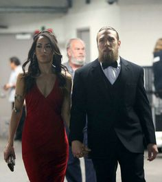 Bryan Danielson (WWE Superstar Daniel Bryan) and his wife Brianna Garcia Danielson at the 2015 WWE Hall of Fame Ceremony Daniel Bryan Brie Bella, Daniel Bryan Wwe, Nikki And Brie Bella, Wwe Fanfiction, John Cena And Nikki, Bella Sisters, Wwe Couples, Wwe Women's Division, Wwe Womens
