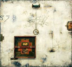 Math & Measurement Series: Prime 53 encaustic, paper, oil pigments with objects on wood panel.  gpapka.