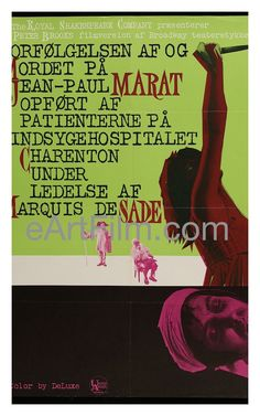 Happy Birthday #PeterWeiss https://eartfilm.com/search?q=marat+sade #writers #writing #playwrights #playwriting #MaratSade #Broadway #theater    Marat/Sade 1967 24.5x33.5 Danish Release Poster