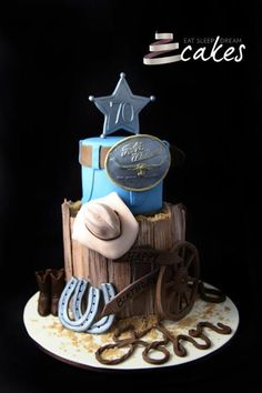 Here's another amazing cowboy- western birthday cake. Love the rope name! Western Birthday Cakes, Western Cakes, Themed Birthday Cakes, Themed Cakes, Cowboy Birthday, Fancy Cakes, Cute Cakes, Fondant Cakes, Cupcake Cakes