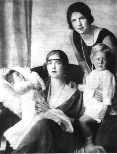 Toddler Prince Michael and his mother Helen, right, with his paternal aunt, Queen Marie of Yugoslavia-Serbia (nee Princess of Romania) and her son, Crown Prince Peter. Both boys would be the last kings of their countries.