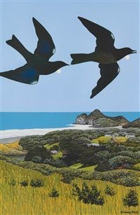 Mad Tui Over Homestead, Te Henga by Don Binney Nz Art, Homestead, New Zealand, Past, Auction, Birds, Landscape, Book, Artist