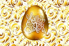 Happy Easter golden egg vector by Rommeo79 on @creativemarket