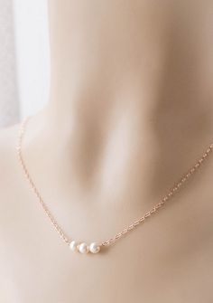 Dainty Rose Gold Pearl Necklace . rose gold by CocoroJewelry