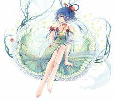Foto 1277x1125 animado con Touhou Kaku kieta (artista) individuales ojos azules pelo corto blanco pelo azul mirando a otro lado perfil de la flor del pelo del ornamento del pelo vestido de niña de las flores (flores) chal Seiga