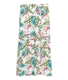 Long viscose skirt | White/Leaves | LADIES | H&M NZ