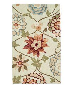 Another great find on #zulily! Ivory Floral Summerton Rug #zulilyfinds