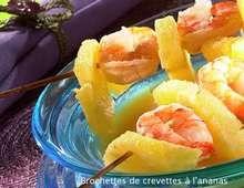 Brochettes de crevettes à l ananas