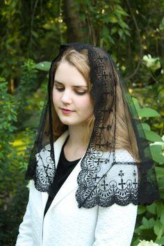 Evintage Veils~ Holy Cross Black Embroidered Lace Vintage Inspired Mantilla…
