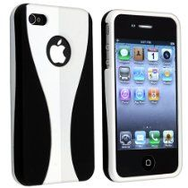 Snap-on Rubber Coated Case for Apple® iPhone® 4 AT / Verizon, White / Black