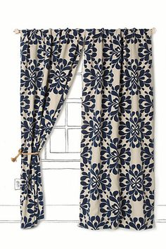 Coqo Floral Curtain #anthropologie love both navy and mustard - family room after floors are re-stained