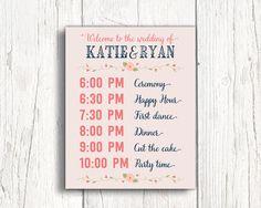 Print or canvas wedding timeline sign  wedding event sign