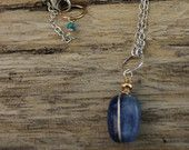 Puffy Kyanite and 14 kt gold fill wire wrapped necklace