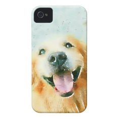 Smiling Golden Retriever in Watercolor iPhone 4 Case-Mate Case by #AugieDoggyStore