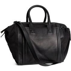 H&M Leather handbag (430 BRL) ❤ liked on Polyvore featuring bags, handbags, purses, torbe, black, leather handbags, real leather purses, leather handbag purse, zipper handbag and h&m purses