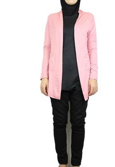 Open Front Cardigan with Pockets - Cherry Blossom Pink