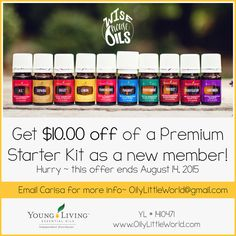 $10 discount on Young Living's Premium Starter Kit through August 14, 2015!