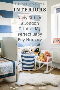 Looking for baby room or nursery inspiration? Here's my perfect baby boy nursery, featuring bold navy blue stripes and London prints. Also featuring IKEA, White Company and Mamas and Papas products and nursery furniture Navy And White, Navy Blue, Mamas And Papas, The White Company, Nursery Furniture, Nursery Inspiration, Stylish Kids, Baby Boy Nurseries, Our Baby