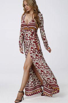 Floral Pattern V-neck Split Hem Maxi Dress