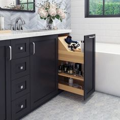 Hardware Resources No Wiggle 8 Inch Vanity Cabinet Pullout with Soft-Close Under. - Hardware Resources No Wiggle 8 Inch Vanity Cabinet Pullout with Soft-Close Under… - Bathroom Renos, Bathroom Renovations, Master Bathrooms, Small Master Bathroom Ideas, Master Bathroom Vanity, Boho Bathroom, Marble Bathrooms, Ikea Bathroom, Master Bathroom Layout