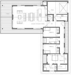 Resultado de imagen para planos de casas de una planta en l
