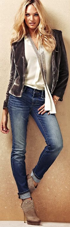 Love this gray velvet jacket with jeans and matching heels. Candice Swanepoel…