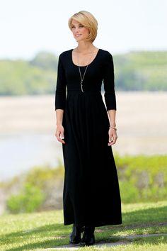 Scoopneck Long Knit Dress with Shelf Bra | Chadwicks of Boston