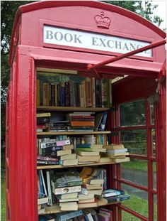 lots of villages in the UK have turned red telephone booths into mini libraries...just leave a book and take another....from booklending.com