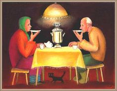 This picture depicts two Russian people drinking chai from the saucer (blootza). To this day we still serve it this way. It's always good to have a good hot cup of chai, pouring it into the saucer cools it down a bit. Chai, Reading Tea Leaves, Russian Tea, Russian Culture, Old Norse, Vintage Poster, Cuppa Tea, Tea Art, Fun Cup
