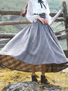 May 2020 - Plaid Skirt Vintage Lace Up Long Skirt for Women Vintage Skirt, Vintage Dresses, Vintage Outfits, Vintage Fashion, Vintage Lace, Vintage Woman, Unique Fashion, Pretty Outfits, Pretty Dresses