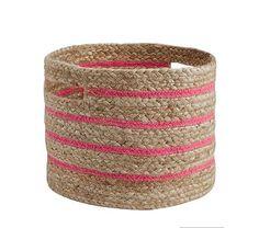 Stripe Raffia Storage Small Bright Pink