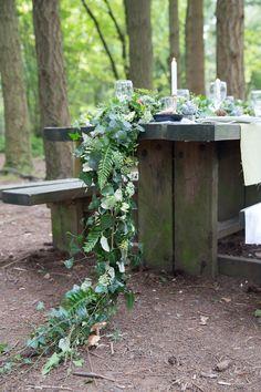 Draping Foliage Centrepiece with hidden mushrooms! Woodland Wedding Inspiration, Draping, Shades Of Green, Wedding Table, Weddingideas, Mushrooms, Centerpieces, Brown, Nature